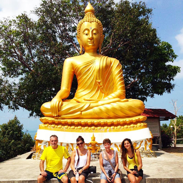 Pagoda Temple Golden Buddha. Samui Bicycle Tours.