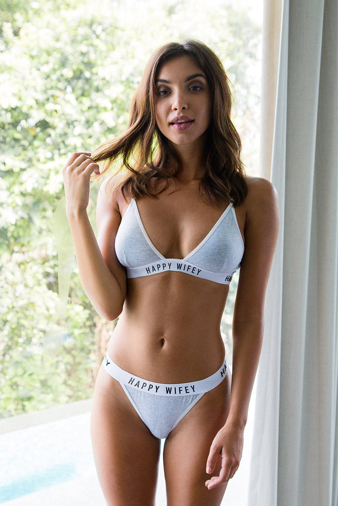 Grey triangle bra