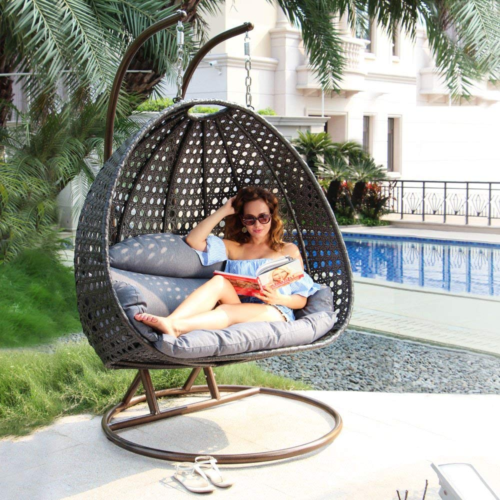 Lounge With A Hanging Wicker Chair