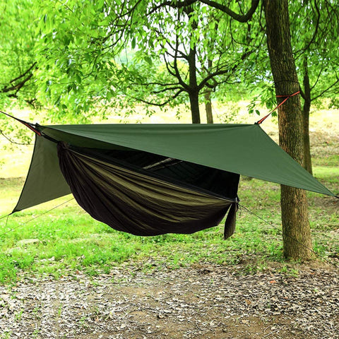 AEETT Camping Hammock with Mosquito Net and Rain Fly