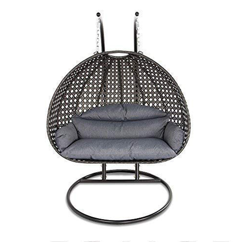 Luxury 2 Person Wicker Swing Chair with Stand and Cushion, by Island Gale