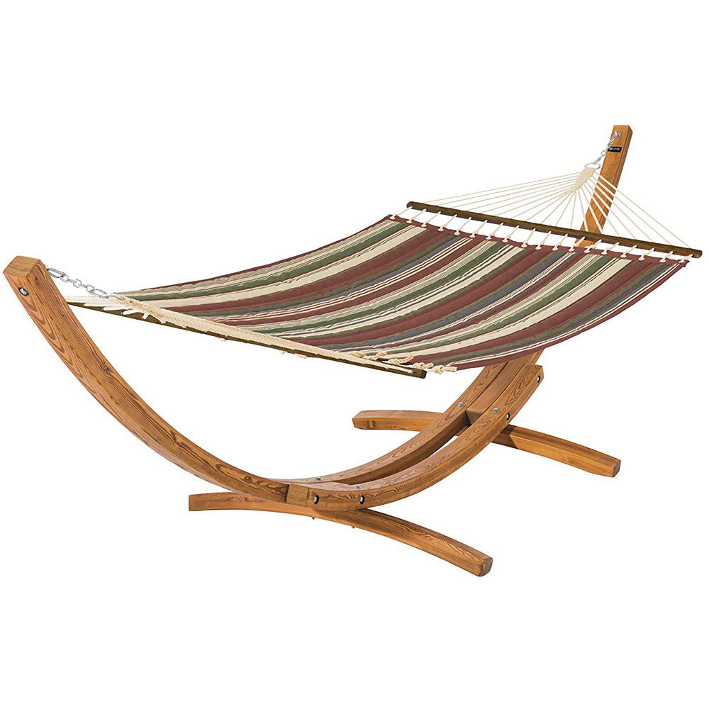 Montlake Reversible Double Hammock with Wood Stand