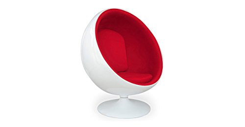 Kardiel Modern Ball Chair, White Fiberglass, Red