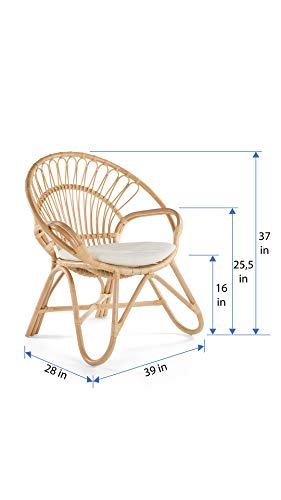 KOUBOO Armchair Round Rattan Loop Armhair with Seat Cushion, Natural Color, Large