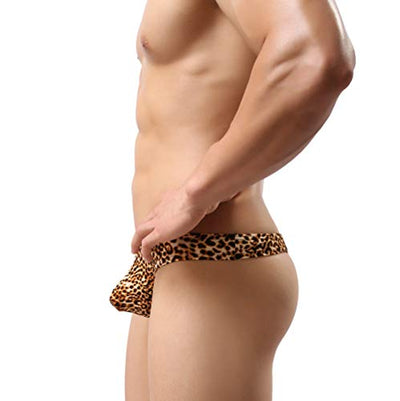 MuscleMate Hot Men's Leopard Print Thong G-String Underwear: L, Gold