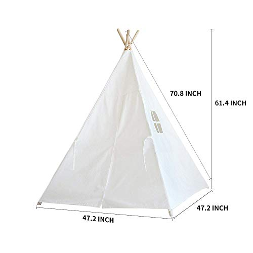 Sumbababy Teepee Tent for Kids with Carry Case, Natural Cotton Canvas Teepee Play Tent, Toys for Girls/Boys Indoor & Outdoor Playing--ASTM Certified