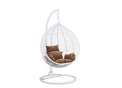 Island Gale Hanging Basket Chair Outdoor Front Porch Furniture with Stand and Cushion (White/Brown)