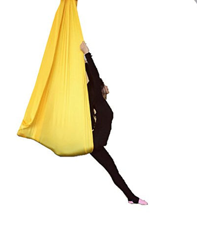 Dasking 5m Premium Aerial Silks Equipment Aerial Yoga Hammock Set antigravity yoga Aerial Silk Yoga Set Safe Deluxe Aerial Kit (Yellow)