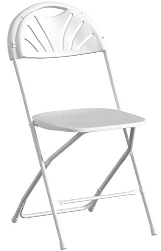 White Plastic Fan Back Folding Chair