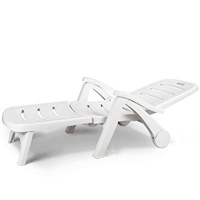 Giantex Folding Lounger Chaise Chair on Wheels