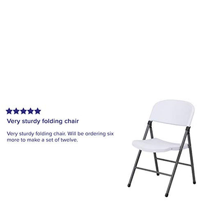 Granite White Plastic Folding Chair with Charcoal Frame