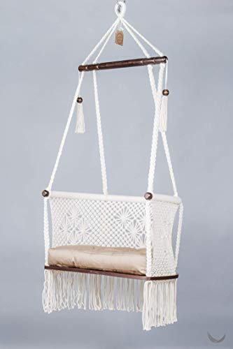 Hanging Chair in Cream Color Cotton. Dark Plywood Seat + 1 Handmade Khaki Cushion
