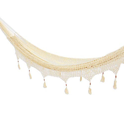 NOVICA Ivory Natural Off White Hand Woven Nylon Mayan Matrimonial Family Size XXL Rope Hammock with Crochet Fringe, Caribbean Shores' (Triple)