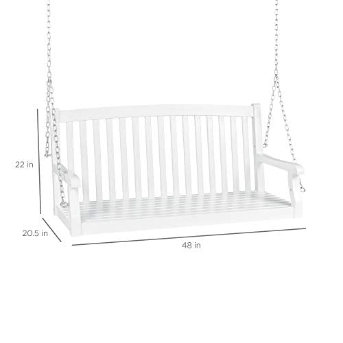 Acacia Wood Curved 3-Seater Hanging Porch Swing w/Mounting Chains: White