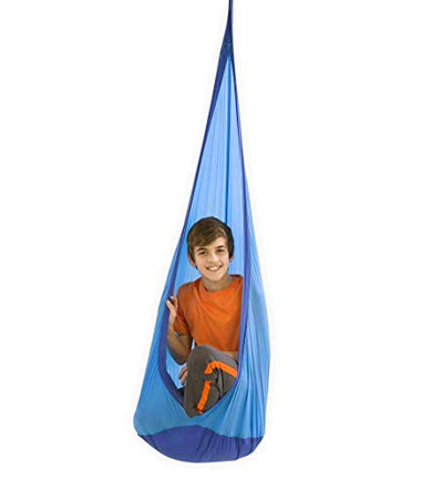 HugglePod Lite Indoor Outdoor Hanging Hammock Chair, Durable Lightweight Nylon with Reinforced Hanging Strap, Max Weight 175 LBS, 64 H x 24 W - Blue