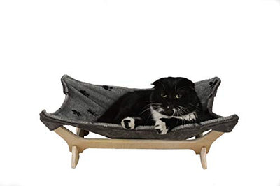 Cat Hammock with Stand | Natural Material Cats Love for Any Cat Lover (Gray)