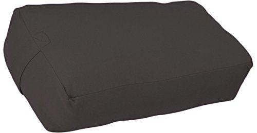 YogaAccessories Supportive Rectangular Cotton Yoga Bolster (Dark Gray)