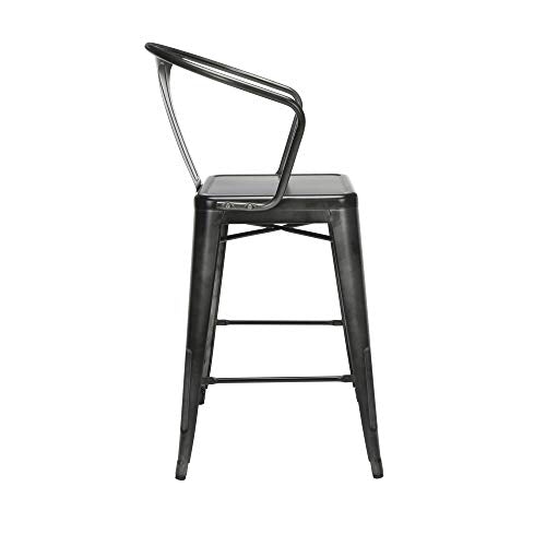 "Modern 4 Pack 26"" Mid Back Metal Armchair Stools"