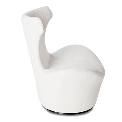 Wedge Modern Swivel Occasional Chair - White