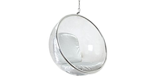 Kardiel Bubble Chair Hanging, Industrial Silver Cushion