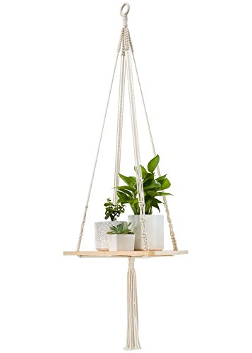 "Mkono Macrame Plant Hangers Shelf Indoor Hanging Planter Decorative Flower Pot Holder Boho Bohemian Home Decor, 45"" L"