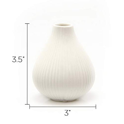 Chive Tall Round Clay Pottery Flower Vase Set of 6: White