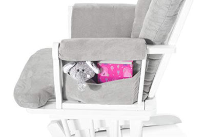 Cozy Glider and Ottoman, Matte White with Gray Cushion