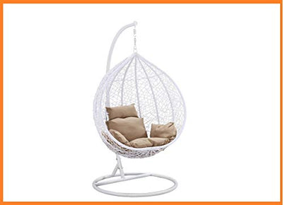 Island Gale Hanging Basket Chair Outdoor Front Porch Furniture with Stand and Cushion (White/Beige)