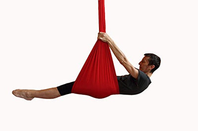 Dasking 5m Premium Aerial Silks Equipment Aerial Yoga Hammock Set antigravity yoga Swing Aerial Silk Yoga Set Safe Deluxe Aerial Kit (Red)