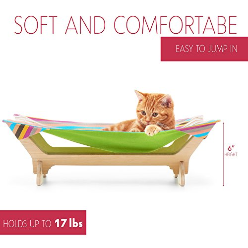 CATONEER Cat Hammock - Cat Bed - Pet Bed Frame - Cotton Padding- Soft Comfy- Ideal for Pets Up to 17lbs- Lightweight - Birch Wood Construction- Great Gift Idea for Every Cat Lover SpringPlum