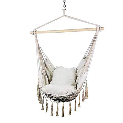 Macrame Lounging Hanging Rope Hammock Chair with Cushion and Wooden Bar