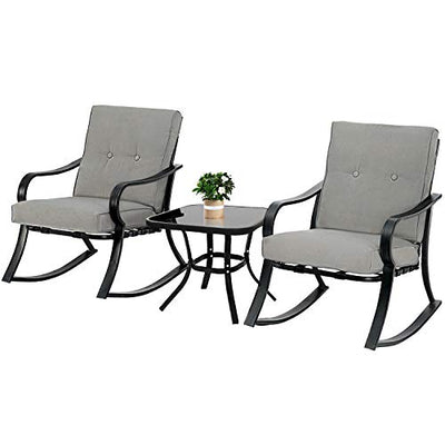 Outdoor Furniture 3 Piece Bistro Set Rocking Chairs and Glass Top Table