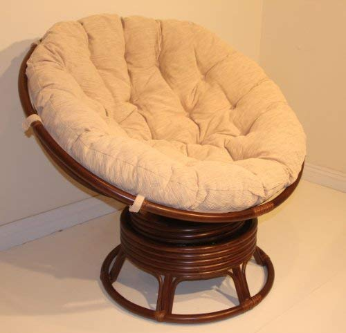 Rattan Wicker Swivel Rocking Round Papasan Chair with Cushion White Wash