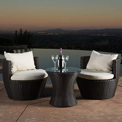 Christopher Knight 3-Piece Wicker Chat Set Patio Furniture: Brown