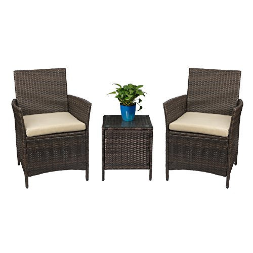 Devoko Patio Porch Furniture Sets 3 Pieces PE Rattan Wicker Chairs with Table