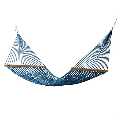 Hatteras Hammocks Large DuraCord Rope Hammock, Coastal Blue
