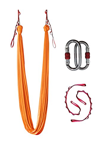 Dasking Deluxe 10 Yards(10m/set) Yoga Swing Aerial Yoga Hammock kit with all Hardware, Fabric & Guide (Orange)