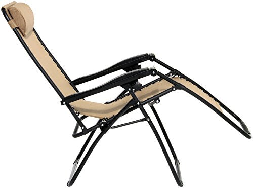Outdoor Zero Gravity Lounge Folding Chair, Beige