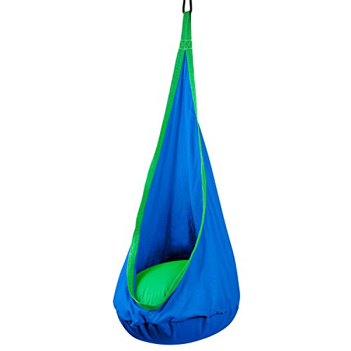 Driftsun Hammock Pod Kids Swing / Outdoor and Indoor Children's Hammock Chair Nook - Hardware Included (Blue)