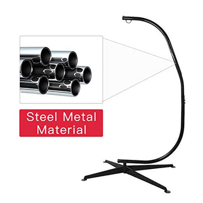 BMS HK-CC79 C Outdoor Solid Steel Heavy Duty Construction for Hanging Hammock Air Porch Swing Chair Indoor(Stand Only), Black