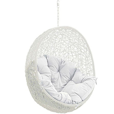 Modway Wicker Rattan Egg Swing Chair Set with Hanging Steel Chain - White