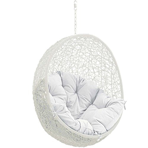 Stupendous Modway Wicker Rattan Egg Swing Chair Set With Hanging Steel Chain White Theyellowbook Wood Chair Design Ideas Theyellowbookinfo