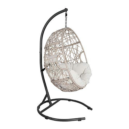 Tear Drop Egg Chair with Cushion and Stand: Beige
