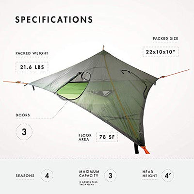 Tentsile Stealth 3-Person Tree Tent – Three Person Family Camping Tree House Tent – 3 Separate entrances, Independent Ventilation, Single Pole Set-up