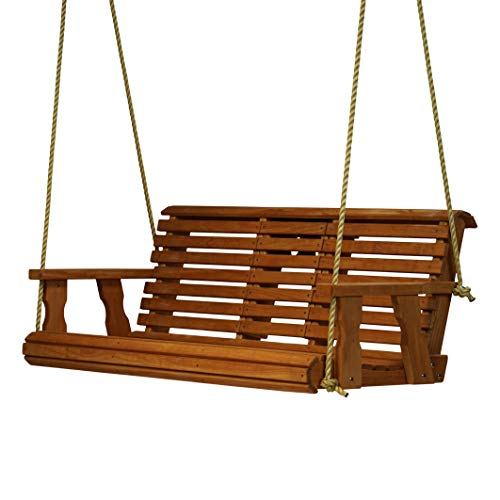 800 Lb Rollback Console Treated Porch Swing With Hanging Ropes (Cedar Stain)