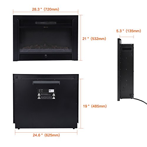 BEAMNOVA 28 Inch Electric Fireplace Black Freestanding Heater