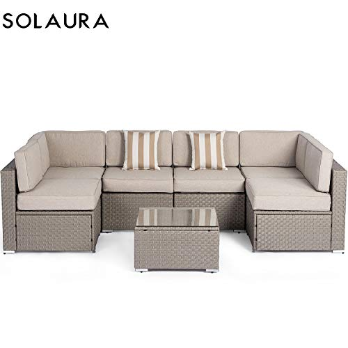 Solaura Outdoor 7-Piece Wicker Furniture Set