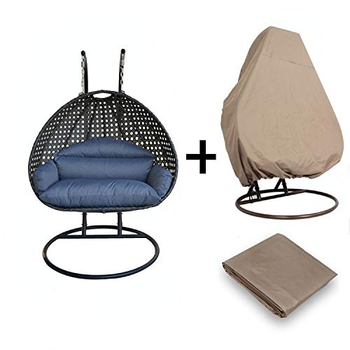 Island Gale Luxury 2 Person Outdoor, Patio, Hanging Wicker Swing Chair ((2 Person) X-Large-Plus, Charcoal Rattan/Charcoal Cushion W/Cover)