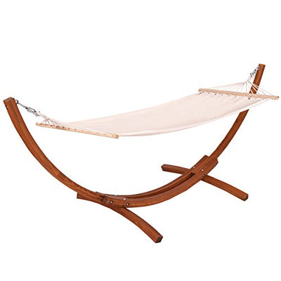 Giantex Wooden Curved Arc Wide Hammock Swing and Stand Set: white