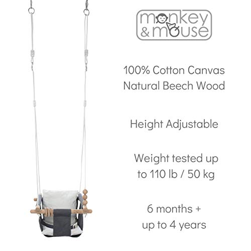 Monkey & Mouse Secure Canvas and Wooden Hanging Swing Seat Chair with toy